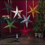 Papīra Samta Velveta Zvaigznes ar LED lampiņām