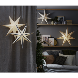 Papīra zvaigzne karināma balta 60x60cm Plain 501-34