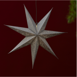 Papīra zvaigzne karināma sudraba 75x75cm Decorus 501-40