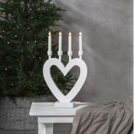 Koka svečturis sirsniņveida balts 12W 27x45cm Dala 244-90