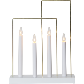 Koka svečturis ar rāmjiem balts 12W 29x36cm Glossy frame 644-71