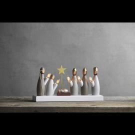 Koka svečturis ar figūrām balts 15W 33x17cm Krubba 652-85