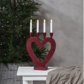 Koka svečturis sirsniņveida sarkans 12W 27x45cm Dala 244-91
