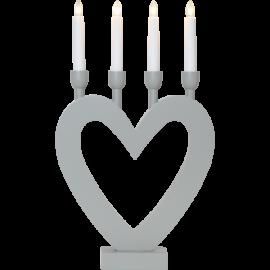 Koka svečturis sirsniņveida formas pelēks 12W 27x45cm Dala 244-92