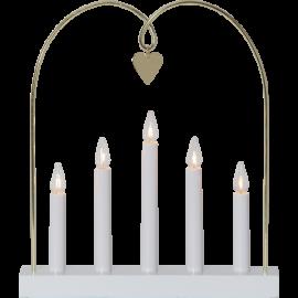 Koka svečturis ar sirdi balts 15W 30x38cm Glossy bow 644-74