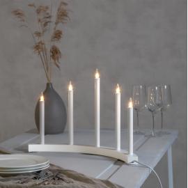 Koka svečturis izliekts balts 15W 60x36cm Accent 219-35