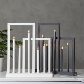 Koka svečturis ar rāmjiem pelēks 15W 45x51cm Frame 644-04