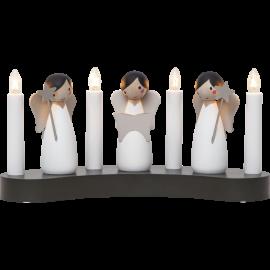 Koka svečturis ar eņģeļiem balts 12W 31x15cm Angel choir 655-85