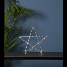 LED gaismas dekors zvaigzne uz baterijām sudraba 0,5W 25x25cm Super 700-57