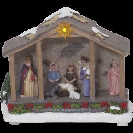 LED Ziemassvētku gaismas dekors uz baterijām 0,06W 19x15cm Nativity 992-08