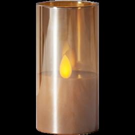 LED vaska svece glāzē uz baterijas dzintara 0,06W 5x10cm M-Twinkle 063-24