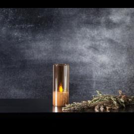 LED vaska svece glāzē uz baterijas dzintara 0,06W 5x12,5cm M-Twinkle 063-25