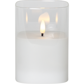 LED vaska svece glāzē uz baterijām balta AA 0,06W 9x12,5cm Flamme 063-93
