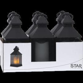 LED laternas uz baterijām melnas 6gab. AAA 0,36W 34x25cm Flame lantern 062-99-92
