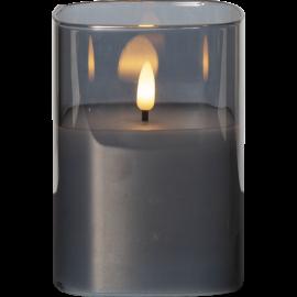 LED vaska svece glāzē uz baterijām melna AA 0,06W 9x12,5cm Flamme 063-94