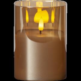 LED vaska svece glāzē uz baterijām dzintara AA 0,06W 9x12,5cm Flamme 063-95