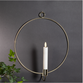 Sienas dekorācija ar LED sveci zelta AA 0,06W 28x34cm Flamme wall 063-46