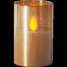 LED vaska svece glāzē uz baterijas dzintara 0,06W 5x7,5cm M-Twinkle 063-23