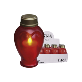 LED kapu sveces sarkanas 12gab. AA 0,05W 37x41cm Serene 068-99-98