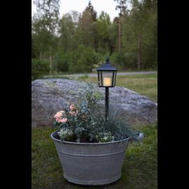 LED kapu laterna uz baterijas melna 0,3W 14,5x52cm Flame lantern 064-59