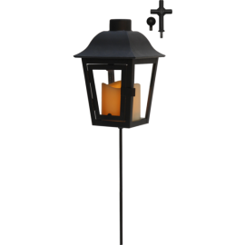 LED kapu laterna uz baterijām melna AAA 0,04W 13x50cm Serene 068-89