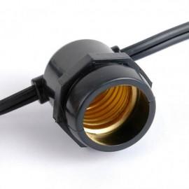 Melna āra gaismas virtene 15xE27 IP65 14.4m integrēts cokols