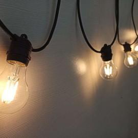 Āra lampiņu virtene 15xE27 IP65 14.4m integrēts cokols ar LED filament spuldzēm