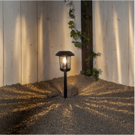 LED Āra gaismeklis uz saules baterijām melns 0,03W 17x47cm Florian 481-95