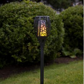LED Āra gaismeklis uz saules baterijām melns 0,18W 11,5x57cm Flame 480-05-1