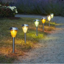 LED āra gaismekļi uz saules baterijām sudraba 12gab. 0,03W 11,5x31cm Ibiza 481-99-44