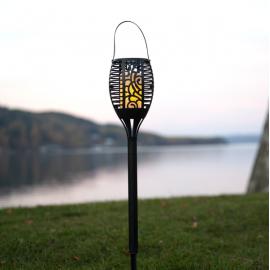 LED Āra gaismeklis uz saules baterijām melns 0,18W 9,5x42cm Flame 480-06-1