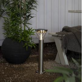 LED Āra gaismeklis uz saules baterijām sudraba 0,5W 14x50cm Narona 481-96