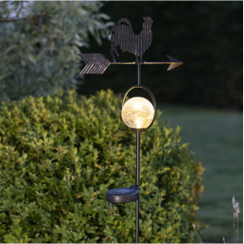 LED Āra gaismeklis uz saules baterijām melns 0,06W 25x81cm Windy 482-24