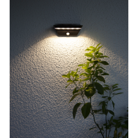 LED āra gaismeklis uz saules baterijām melns 0,02W 22x12cm Wally 480-79
