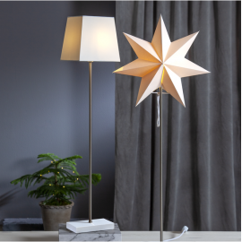 Papīra zvaigzne un abažūrs uz statīva balts E14 34x82cm Moa 233-18