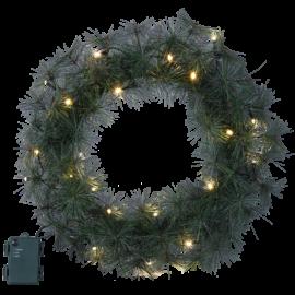 Ziemassvētku Vainags 45cm 20 LED lampiņas Zaļš 612-74